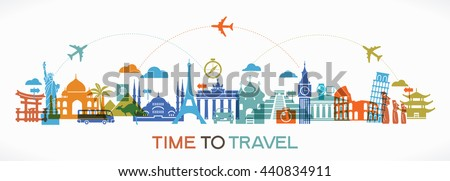 Travel background. Colorful template with icons tourism and landmarks.  - stock vector