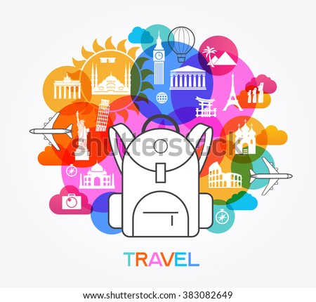 Travel background. Colorful template with symbol of baggage, landmarks and tourist icons. The file is saved in the EPS 10 version. - stock vector