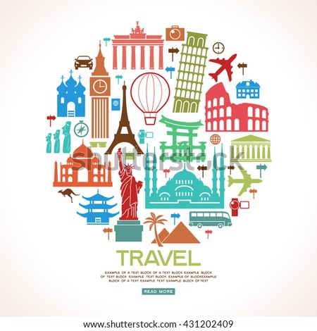 Travel background. Colorful template with tourism and landmarks icons. Flat design . File is saved in 10 EPS version.