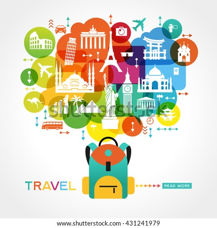 Travel background. Colorful template with tourism, landmarks, baggage icons  and text. File is saved in 10 EPS version.  - stock vector