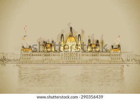 Travel background in vector format. Modern stylish painting with watercolor and pencil. The Hungarian Parliament Building with bright and beautiful illumination at night. - stock vector