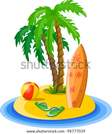 Travel background, palm, ball, flip-flops and suitcase - stock vector