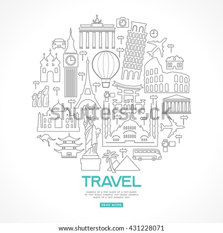 Travel background. Template with tourism, landmarks icons and text. Linear design. File is saved in 10 EPS version.  - stock vector