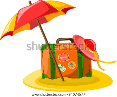 Travel background,  umbrella, hat and suitcase - stock vector
