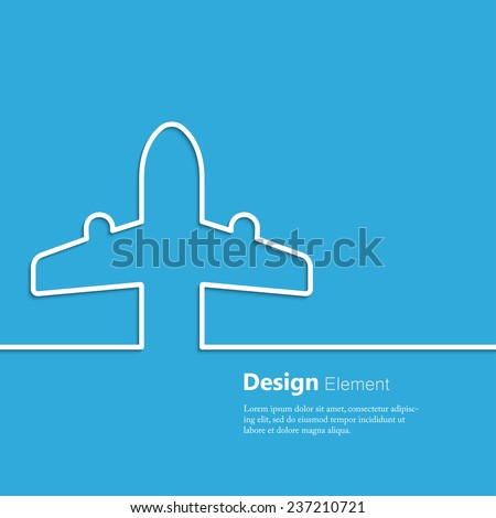 Travel background with airplane ticket - stock vector