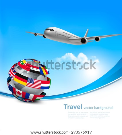 Travel background with an airplane and a globe made of flags. Vector. - stock vector