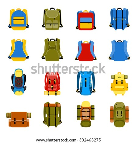 Travel backpack, camping rucksack and school bag icons. Travel hiking, tourism and luggage vector illustration - stock vector