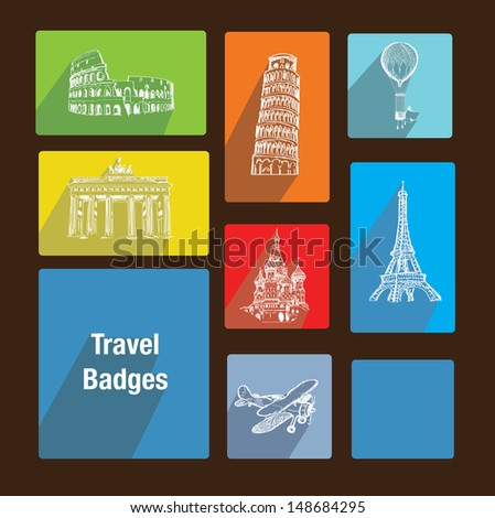 Travel badges like metro interface - stock vector