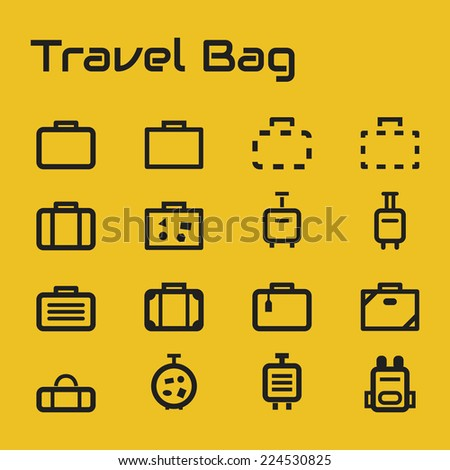 Travel bag icons - stock vector