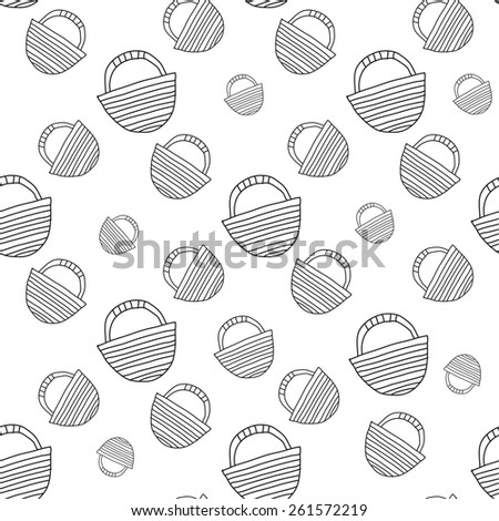 travel bag Vector seamless illustration in black and white color