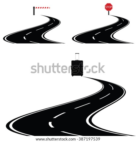 travel bag with road black and stop sign illustration - stock vector