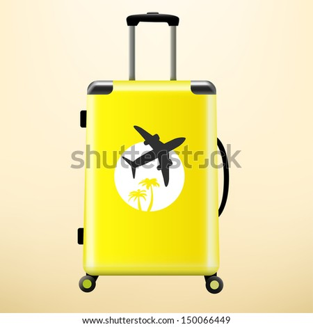 Travel bag with sticker - stock vector