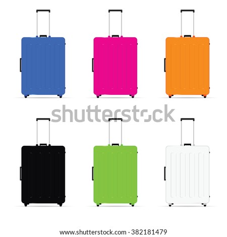 travel baggage set illustration in colorful - stock vector
