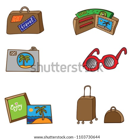 Travel bags colorful stickers or patches collection vector illustration set business voyage packing handle