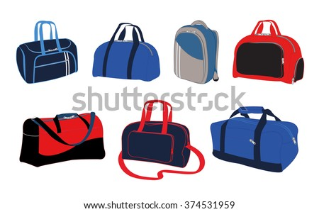Travel bags vector illustration. Travel bags isolated on white background. Travel bags collection.