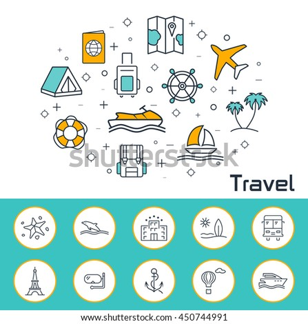 Travel banner in flat style. Outline vector icons.