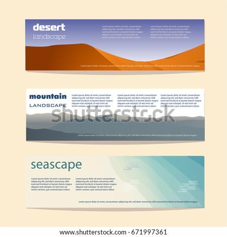 travel banner template desert mountains oceans stock vector