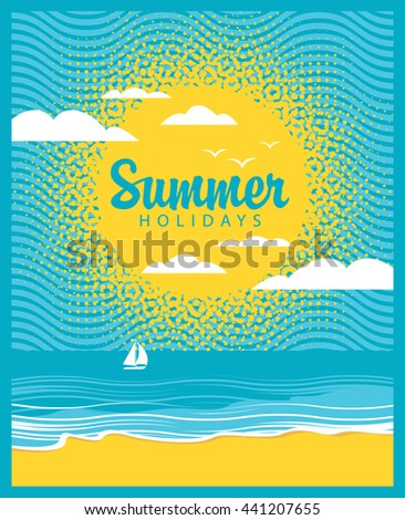 Travel banner with the sea, sun, beach and the word summer time - stock vector
