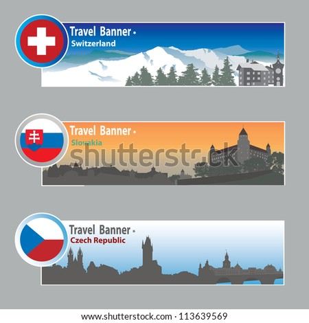 Travel banners: Switzerland, Slovakia and Chech - stock vector