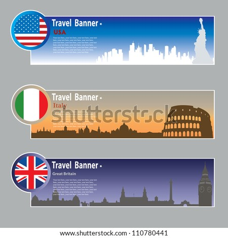 Travel banners: USA, Italy and Great Britain - stock vector