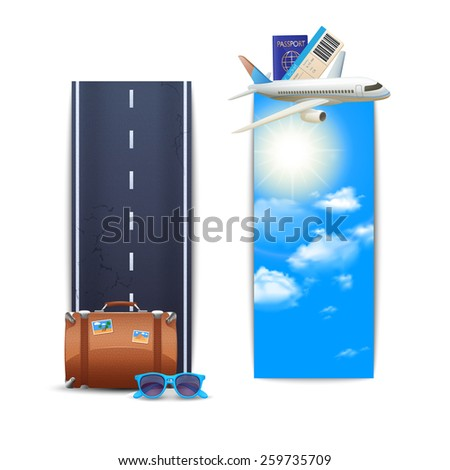 Travel banners vertical set with realistic suitcase and airplane isolated vector illustration - stock vector