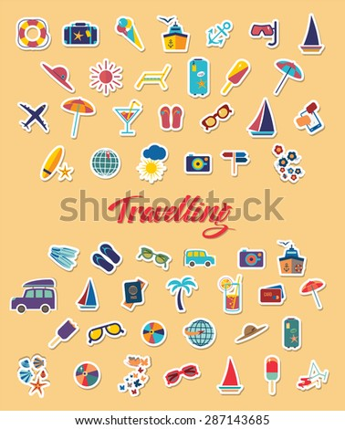 Travel beach flat calligraphy background. Flat design style modern vector illustration icons set of traveling on airplane, planning a summer vacation, tourism and journey . - stock vector