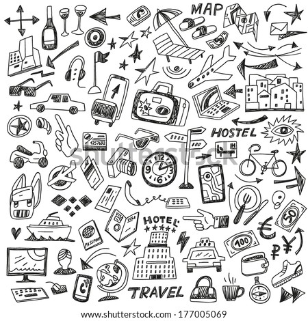 travel - big doodles set - stock vector