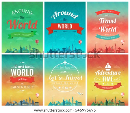 Travel Brochure World Landmarks Template Magazine Stock Vector