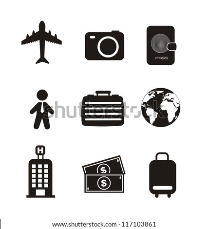 travel business icons isolated over white background. vector - stock vector