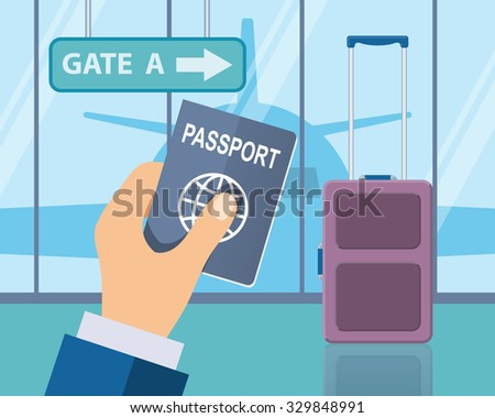 Travel, business trip concept. Businessman holding passport in airport with suitcase and a plane in background. Vector illustration in flat style