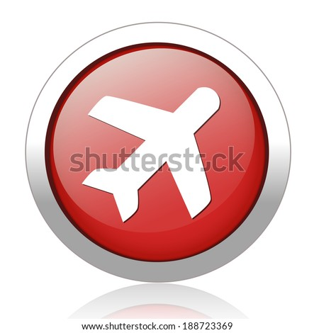 Travel button with aircraft