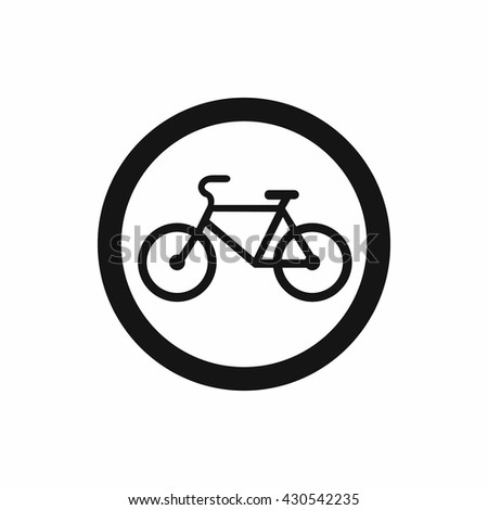 Travel by bicycle is prohibited traffic sign icon - stock vector