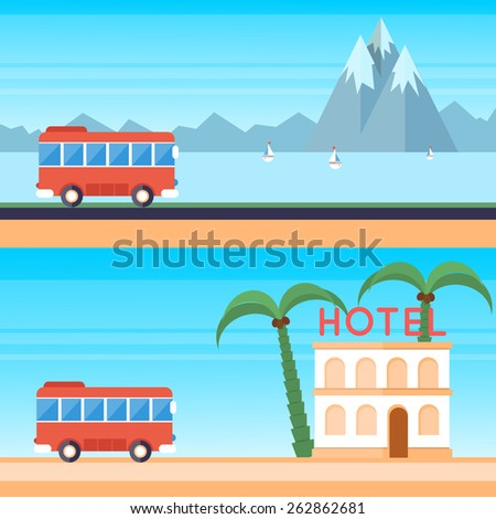 Travel by bus. 2 banners. Flat design vector illustration.