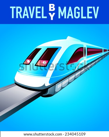 Travel by maglev blue modern poster - stock vector