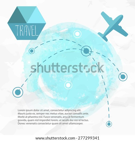 Travel by plane. Airplane on his destination routes. Watercolor blue background and flat style airplane. Air traffic vector illustration. - stock vector