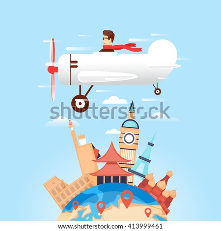 Travel by plane Russia, USA, Japan, France, England, Italy. World Travel. Planning summer vacations. Tourism. Flat design vector illustration. - stock vector