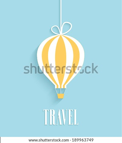 Travel card with hanging air balloon. Vector illustration. - stock vector