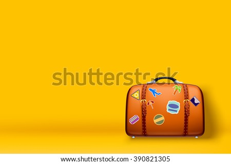 travel case on yellow - stock vector