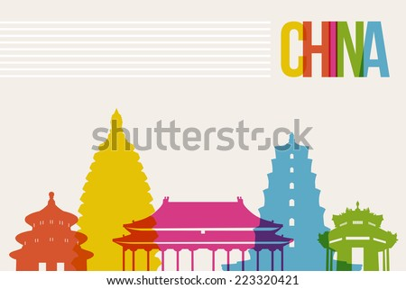 Travel China famous landmarks skyline multicolored design background. Transparency vector organized in layers for easy create your own website, brochure or marketing campaign. - stock vector