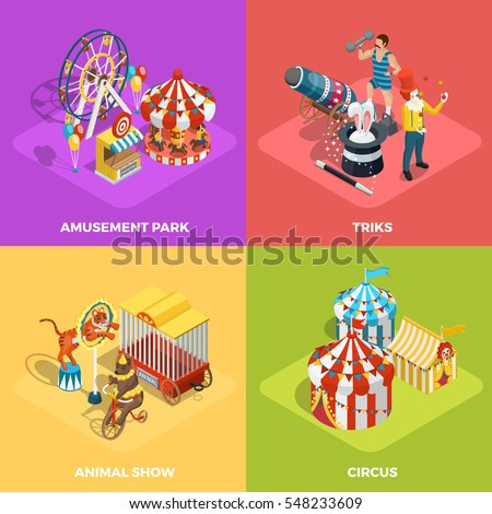 Travel circus performance 4 isometric icons square composition with animals show and magician tricks isolated vector illustration