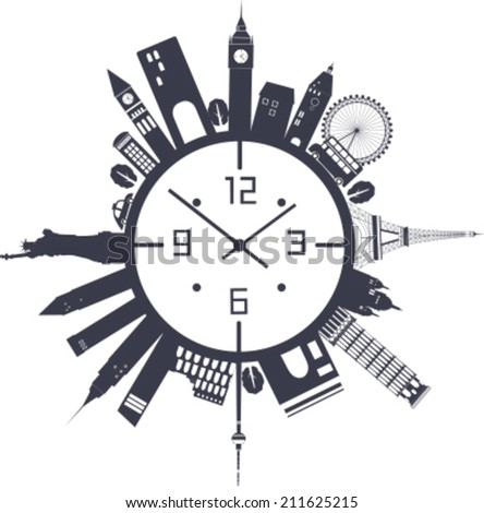Travel clock in black and white colors. Vector - stock vector