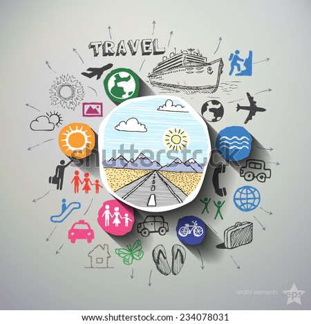 Travel collage with icons background. Vector illustration - stock vector