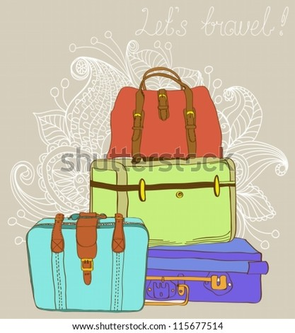 Travel color Suitcases Background, illustration,vector