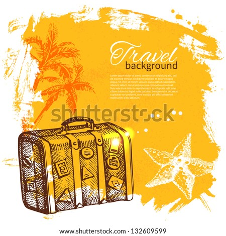 Travel colorful tropical design. Splash blob background - stock vector