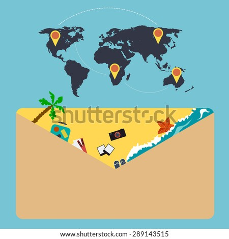 travel concept an envelope vector illustration - stock vector