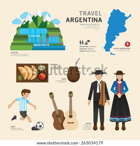 Travel Concept Argentina Landmark Flat Icons Design .Vector Illustration - stock vector