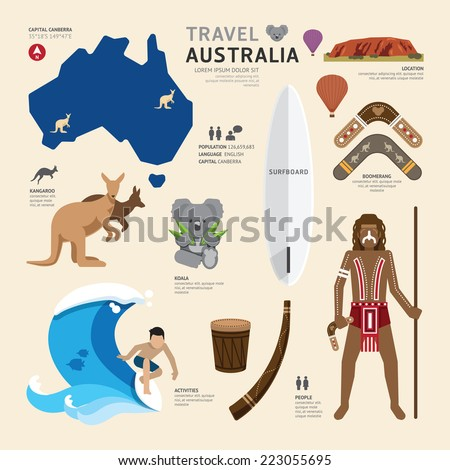 Travel Concept Australia Landmark Flat Icons Design .Vector Illustration - stock vector