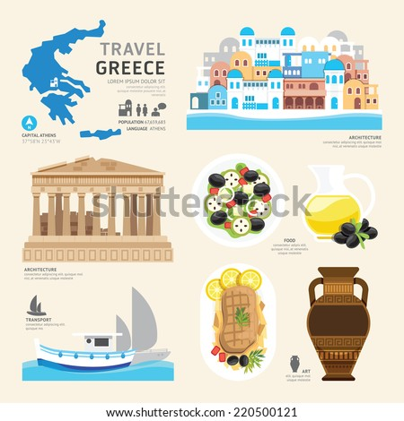 Travel Concept Greece Landmark Flat Icons Design .Vector Illustration - stock vector