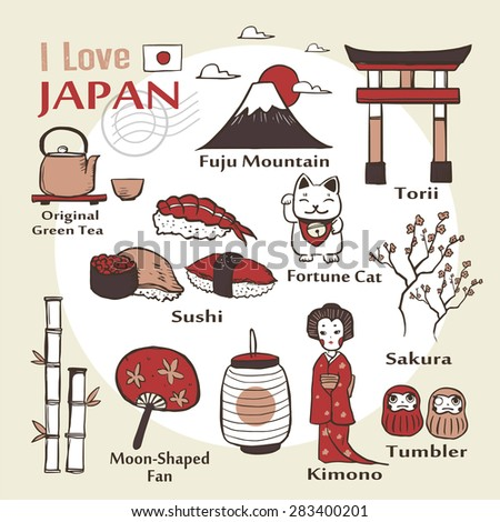 travel concept: Japan famous things and landscapes in hand drawn style  - stock vector