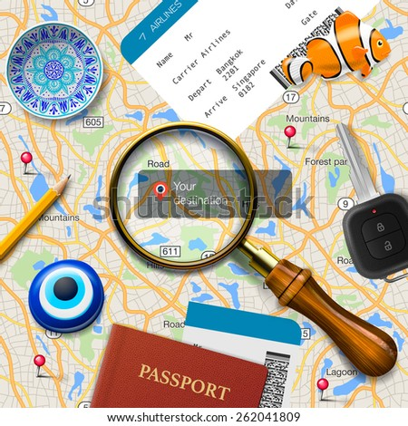 Travel concept. Navigation - you are here. International passport, boarding pass, tickets, magnets and key on the map background, vector illustration.  - stock vector